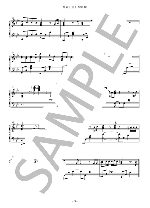 Osmb never let you go piano 3