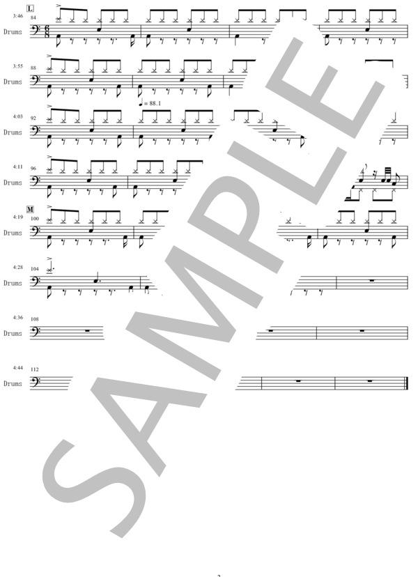 Pale blue drums score 3
